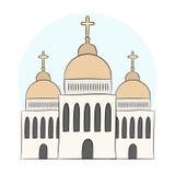 Vector Kirche, Tempel, Kapelle mit Hauben und Kreuze Religion ist Christentum, Taufe Getrennte Nachricht auf weißem Hintergrund E stock abbildung