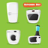 Vector kitchen appliance collection. Fridge, stove, microwave oven Stock Photos