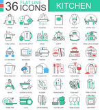 Vector Kitchen color flat line outline icons for apps and web design. Internet education icons. Royalty Free Stock Image