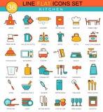 Vector Kitchen flat line icon set. Modern elegant style design for web. vector illustration