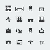 Vector kitchen furniture mini icons set Stock Image