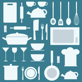 Vector kitchen icons set. Royalty Free Stock Photos