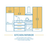 Vector kitchen interior design brochure cover in line style. Flyer home decoration. Business presentation minimalistic Royalty Free Stock Images