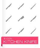 Vector kitchen knife icon set Stock Photography