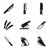 Vector kitchen knife icon set Royalty Free Stock Photography