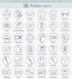 Vector kitchen outline icon set. Elegant thin line style design. Royalty Free Stock Images