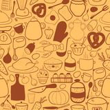 Vector kitchen seamless pattern Royalty Free Stock Images