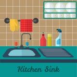 Vector Kitchen Sink. Vector flat kitchen sink illustration Stock Photography
