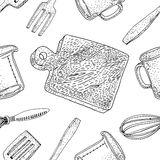 Vector kitchen tools seamless pattern. Royalty Free Stock Image