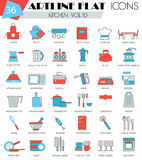 Vector kitchen tools ultra modern outline artline flat line icons for web and apps. Stock Image