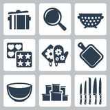 Vector kitchenware icons set. Vector  kitchenware icons set: pot, colander, baking mould, cutting board, bowl, containers, knives Royalty Free Stock Images