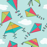 Vector kites flying in the sky seamless pattern Stock Photography