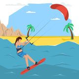Vector kitesurfing girl concept. Flat style. Web infographics Stock Photos
