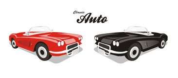 Vector klassieke auto reclame Royalty-vrije Stock Foto's