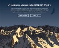 Vector Klettern und Bergsteigenhintergrundthema, das Trekking und wandern Stockbild