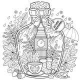Vector Kleurend boek voor volwassenen Een glasschip met de herfstgeheugen van dromen over een reis aan Londen Een fles met regen, Royalty-vrije Stock Afbeelding