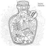 Vector Kleurend boek voor volwassenen Een glasschip met geheugen van de herfst en liefde Een fles met bijen, regen, de herfstblad Royalty-vrije Stock Fotografie