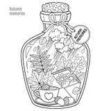 Vector Kleurend boek voor volwassenen Een glasschip met geheugen van de herfst en liefde Een fles met bijen, regen, de herfstblad Stock Fotografie