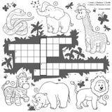 Vector kleurloos kruiswoordraadsel, onderwijsspel over safaridieren Stock Foto's