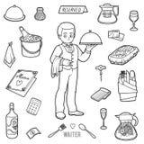 Vector kleurloze reeks met kelner en voorwerpen van het restaurant royalty-vrije illustratie