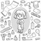 Vector kleurloze reeks van badkamersvoorwerpen, meisje en badjas stock illustratie