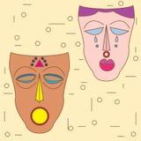 Vector kleurrijk etnisch Afrikaans masker Stock Foto's
