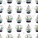 Vector kleurrijk hand getrokken naadloos patroon met cactussen en succulents Stock Afbeeldingen