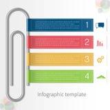 Vector kleurrijk infographic malplaatje met paperclip en linten stock illustratie