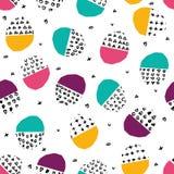 Vector kleurrijk naadloos patroon met borstelpunten, slagen, cirkels en slagen Regenboogkleur op witte achtergrond Hand Stock Afbeelding