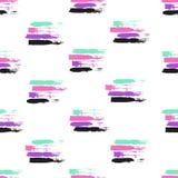 Vector kleurrijk naadloos patroon met borstelslagen en slagen Roze violette groene zwarte kleur op witte achtergrond Hand royalty-vrije illustratie
