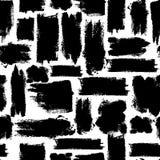 Vector kleurrijk naadloos patroon met borstelslagen Zwarte fantasie Donkere kleur op witte achtergrond Hand geschilderd landhuis Stock Afbeeldingen