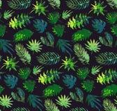 Vector kleurrijk naadloos patroon met tropische installaties en bladeren, hand geschilderde textuur vector illustratie