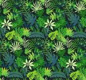 Vector kleurrijk naadloos patroon met tropische installaties en bladeren, hand geschilderde textuur stock illustratie