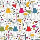 Vector kleurrijk op witte naadloze illustratie met leuk dansend meisje, muzikale instrumenten, kat, bloemen, krabbelvormen Vierka Royalty-vrije Stock Afbeeldingen