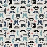 Vector kleurrijk patroon met snorren, snorkammen en bogen Royalty-vrije Stock Foto's