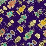 Vector kleurrijk patroon met stuk speelgoed robot vector illustratie