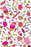 Vector kleurrijk suikergoed naadloos patroon stock illustratie