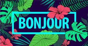 Vector kleurrijk tropisch citaat in vierkant kader romantische affiche, banner, dekking Stock Afbeeldingen