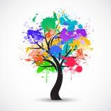 Vector Kleurrijke abstracte boomachtergrond Stock Afbeelding