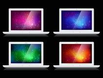 Vector kleurrijke achtergronden en laptops Royalty-vrije Stock Afbeeldingen
