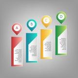 Vector kleurrijke A, B, C, de wijzers van D met de kaders van de informatietekst Rode, blauwe, groene, gele infographics op grijz Stock Afbeelding