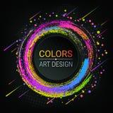 Vector kleurrijke banner Heldere gekleurde kwaststreken Kleurrijke abstracte cirkels De textuur van Grunge Een krijtje Donkere ac stock illustratie