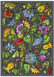 Vector kleurrijke fantasie bloemenachtergrond Stock Afbeelding