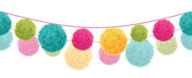 Vector Kleurrijke Gelukkige de Koorden Horizontale Naadloos van Pom Poms Set On Two van de Verjaardagspartij herhaalt Grenspatroo Royalty-vrije Stock Afbeeldingen