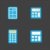 Vector kleurrijke geplaatste calculatorpictogrammen Stock Afbeelding