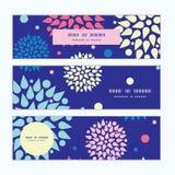 Vector kleurrijke geplaatste uitbarstingen horizontale banners Stock Fotografie