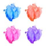 Vector kleurrijke geplaatste waterverfvlekken Stock Afbeeldingen