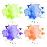 Vector kleurrijke geplaatste waterverfvlekken Stock Fotografie