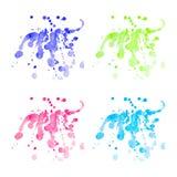 Vector kleurrijke geplaatste waterverfvlekken Stock Foto's