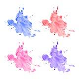 Vector kleurrijke geplaatste waterverfvlekken Stock Foto